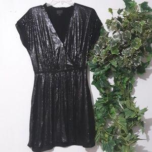Black Contrast Panel Sequin Dress